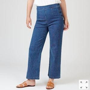 J. Crew slim wide leg striped crop striped jeans